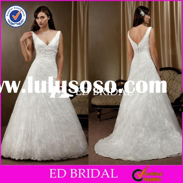 CE1014 Gergeous V-Neck Low Back Lace White Ball Gown Wedding Dresses 2015