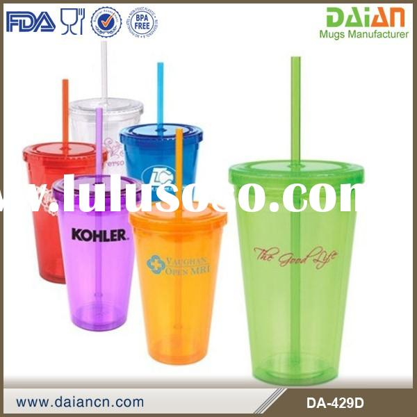 Customized double wll clear plastic cup with lid and straw manufacturers        <span class=""