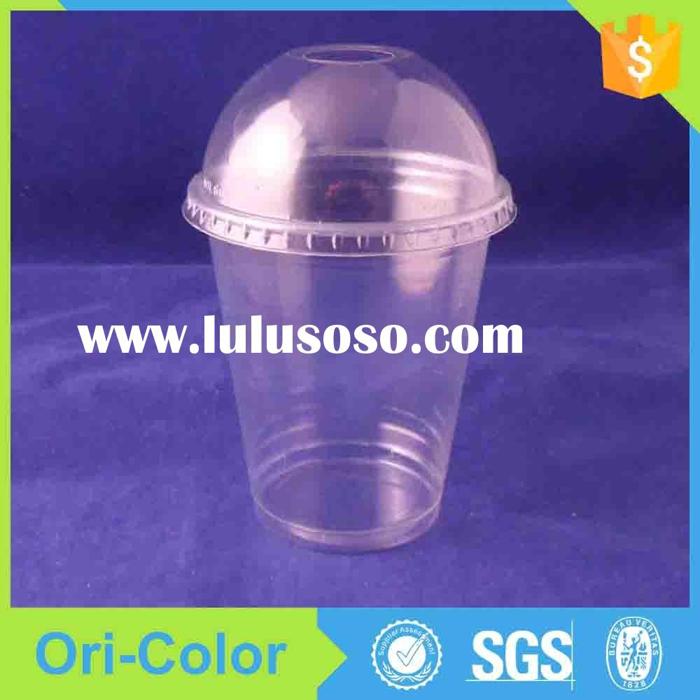 Disposable plastic juice cup with lid