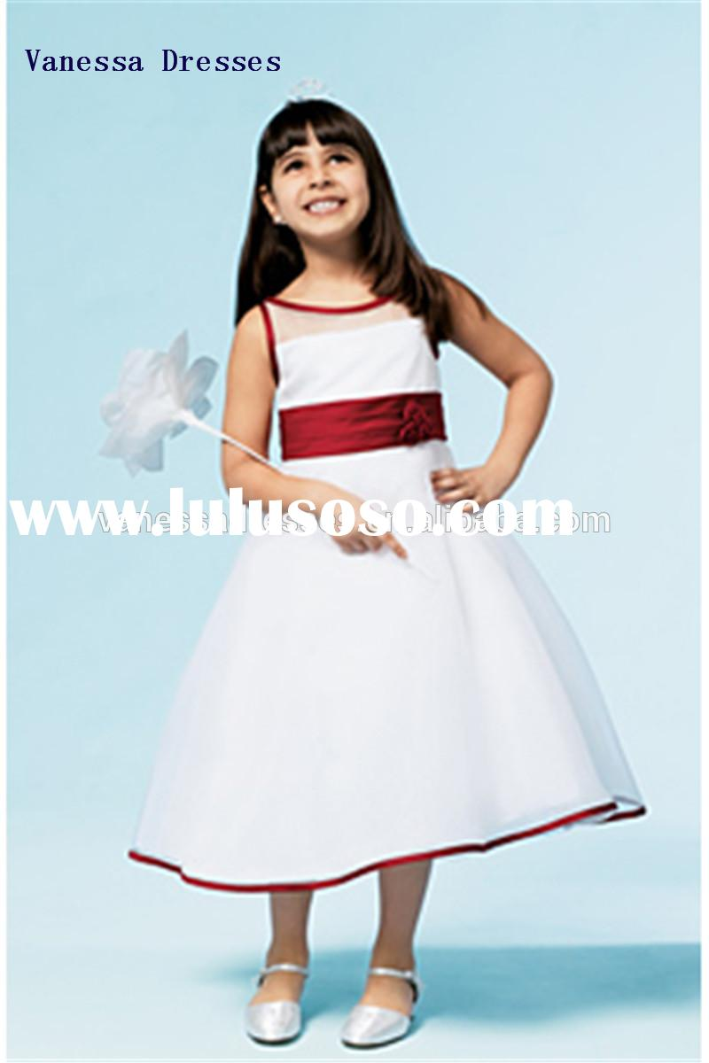 Elegant Jewel Fold Ball Gown Ankle length flower girl dresses for wedding