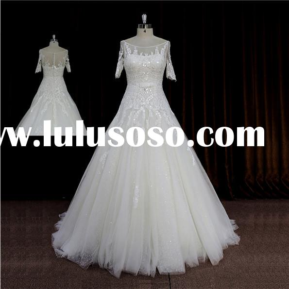 Exquisite Strapless Cross bodice ball gown wedding dress 2015