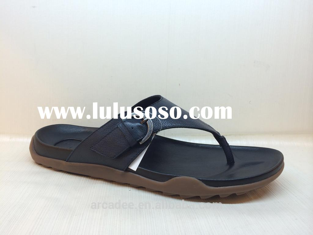 Factory direct wholesale genuine leather men slippers& sandal with soft leather and unique itali