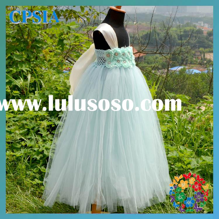 Flower girl dress shabby flowers aqua tutu dress long toddler birthday dress wedding dress