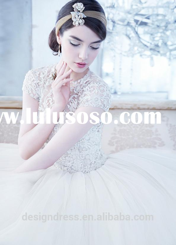 High Quality Cap Sleeve High Neckline Embroidered Organza And Tulle Back Open Ball Gown Wedding Dres