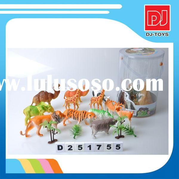 Hot sales cheap small plastic zoo animal set toy for kids play set,PVC material D251755