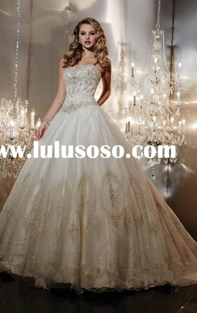 Luxury crystal rhinestone beaded embroidered ball gown wedding dress 2015