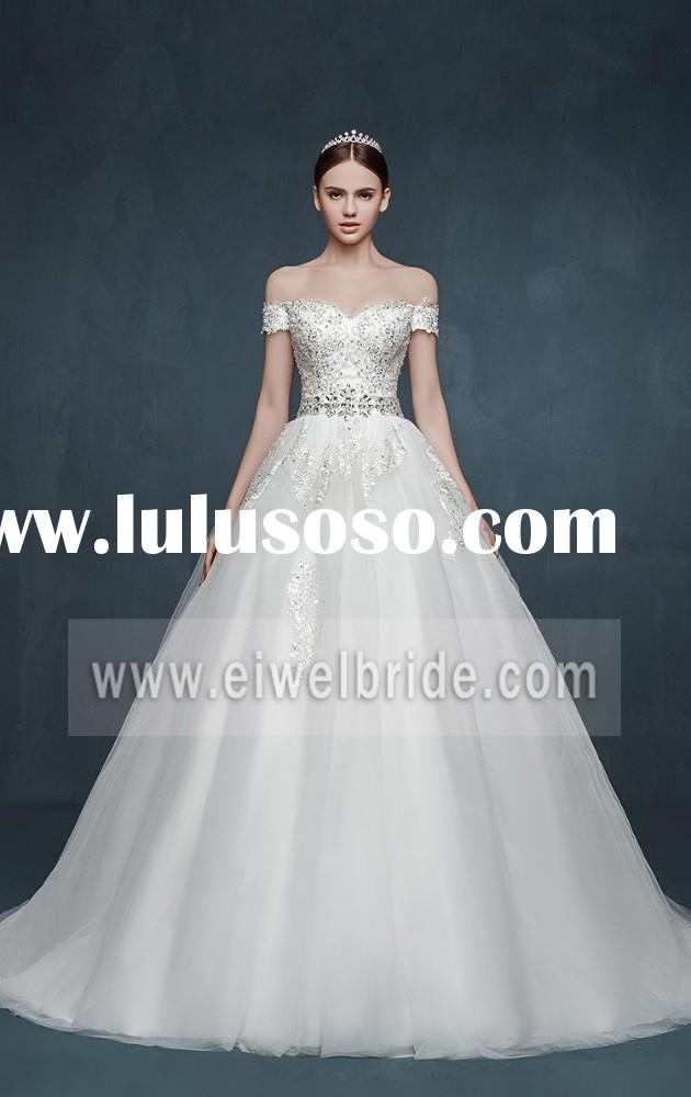 New Arrival Sweetheart Off-Shoulder Sequine Applique Bead Ball Gown Wedding Dress Patterns 2015