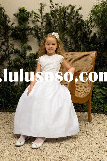 New 2015 lovely Anke-Length white flower girl dresses china girl first communion dress vestido infan