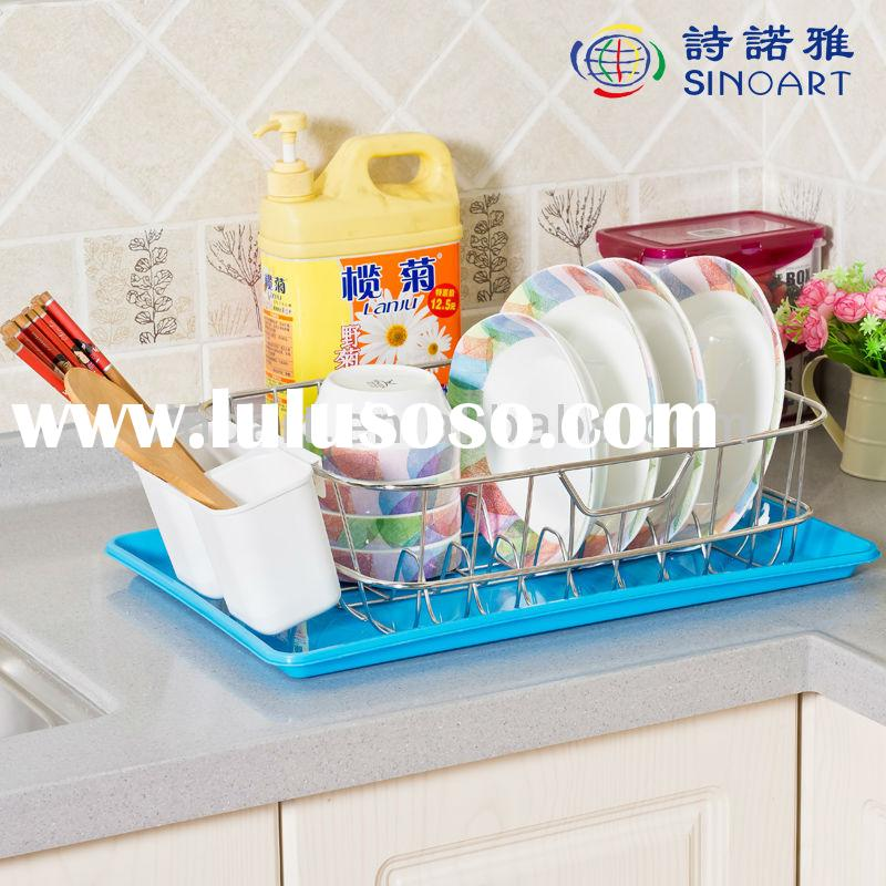 Stainless Steel Dish Plate Drainer Drying Rack With Plastic Tray