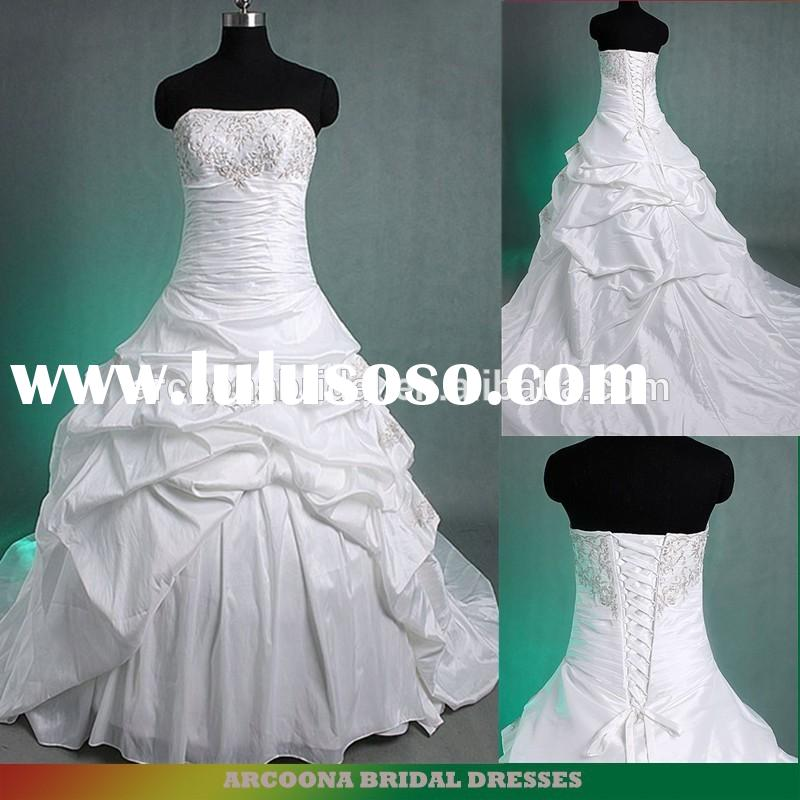 Strapless ruched skirts embroidered ball gown wedding dresses 2015