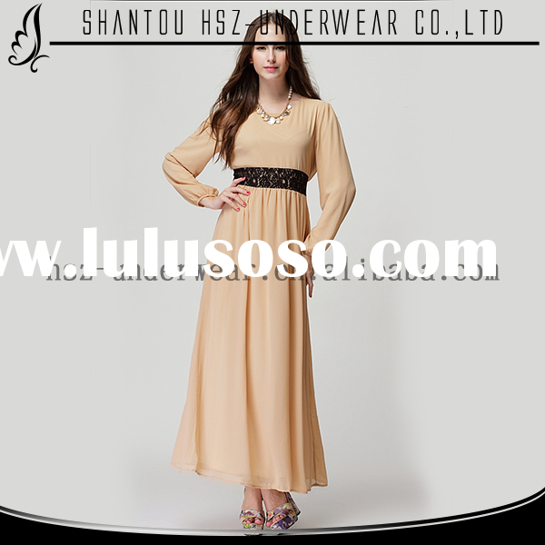 Top quality fancy maxi dress with long sleeve lace waistband casual dress designs for pakistani girl