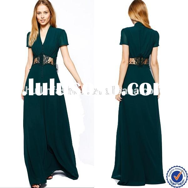 V-neck Maxi casual Dress With Cap Sleeve and Lace Insert in Bottle emerald Green Evening Dress