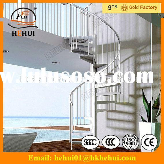 YY-G1206 Hehui interior long steel wood stairs outdoor spiral staircases with curved steel wood stai
