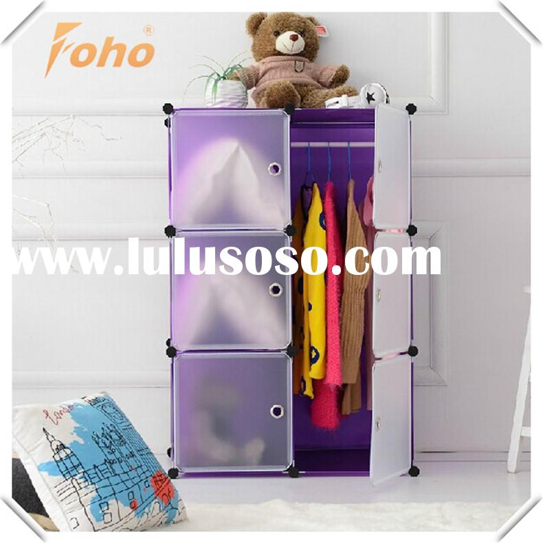 home made purple 6cube plastic collapsible wardrobe storage FH-AL0022-6