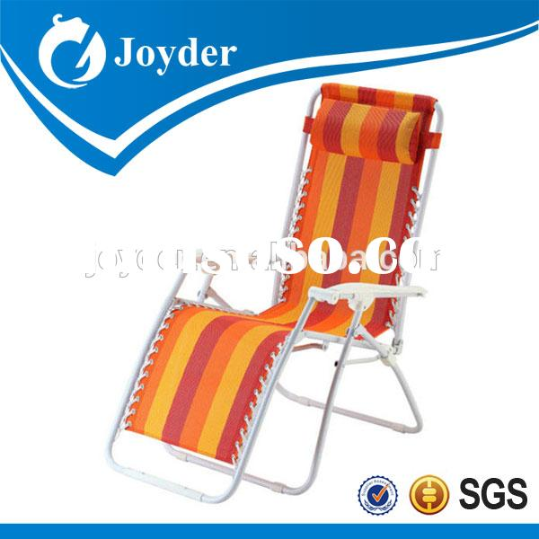 outdoor garden furniture traveling portable plastic deluxe folding beach lounge chair with pillow