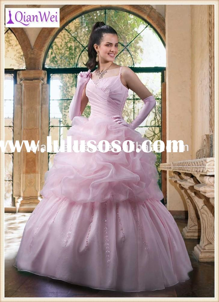 spaghetti strap pink pleated bodice ruched organza ball gown wedding dresses 2015