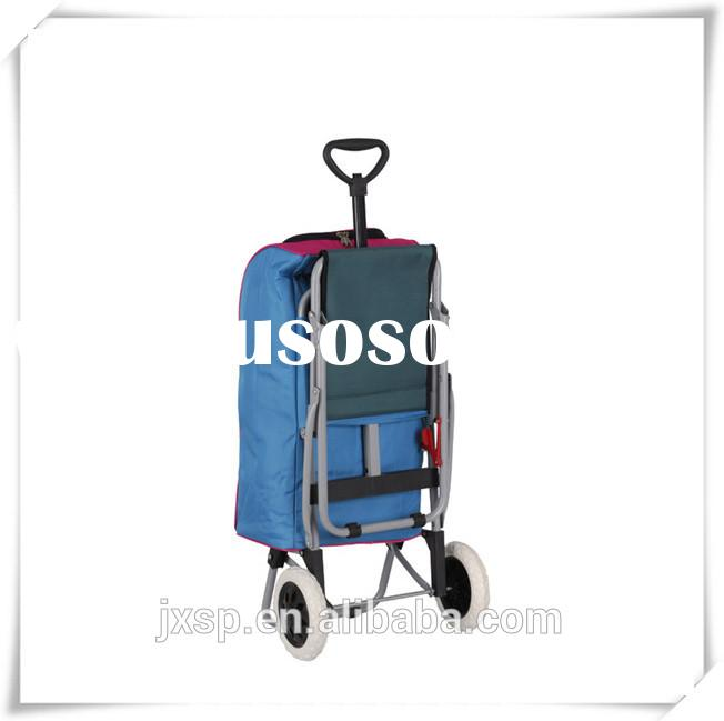 2014 two wheel flexible portable metal folding shopping cart with seat