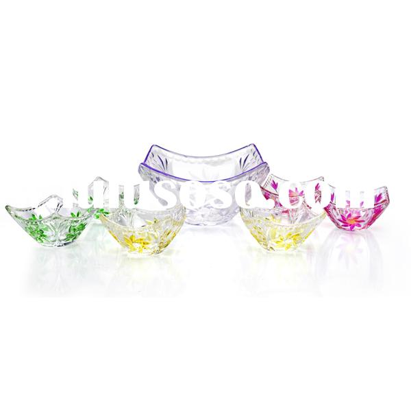 7pcs large colorful glass salad bowl set/red glass dinnerware sets