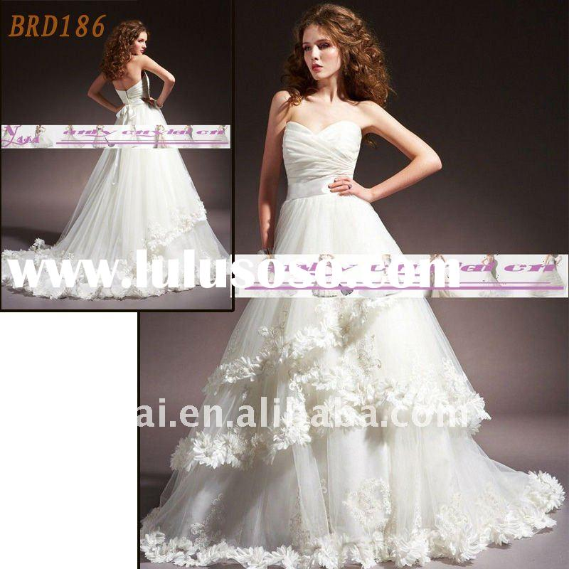 BRD186 Factory Outlet 2012 Beautiful Flowers Fashion A-line Wedding Dress