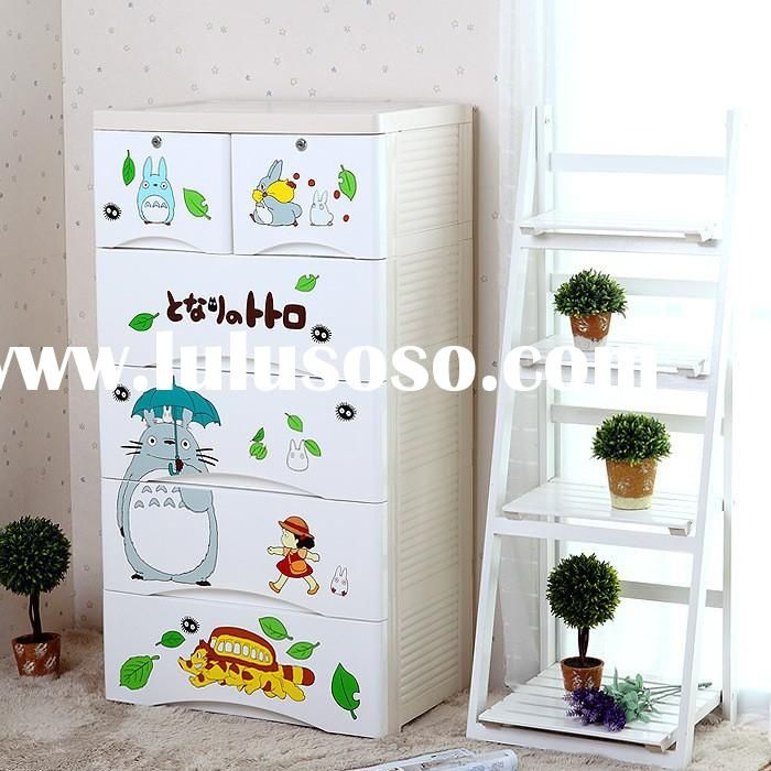 Cartoon design bedroom plastic wardrobe storage cabinet with drawers