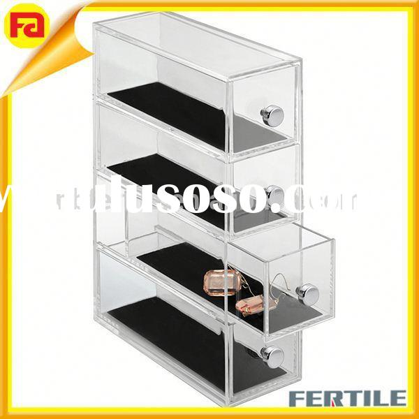 Clarity 4 Drawers Organizer Flip Tower,plastic Storage drawer,Clear
