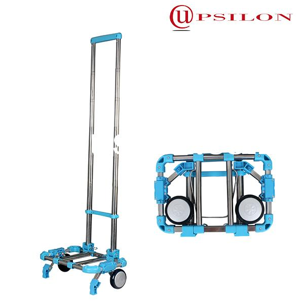 Collapsible utility folding shopping cart with wheels