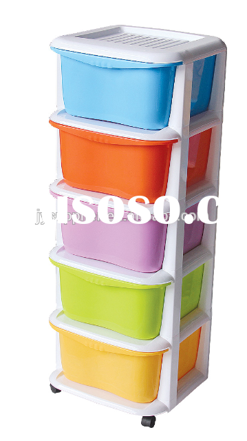Colorful 5layer plastic drawer storage cabinets with wheels