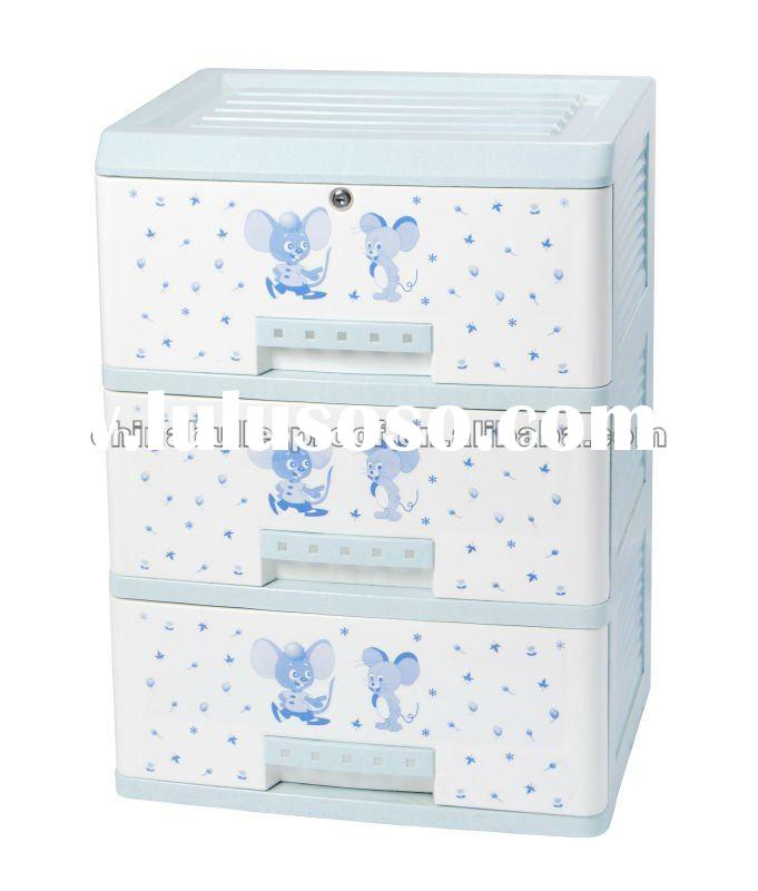 Colorful cartoon 3 drawer plastic storage