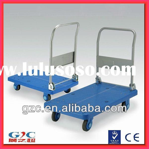 Heavy Duty Foldable Four Wheel Mute Plastic Platform Trolley Hand Cart with Folding Handle
