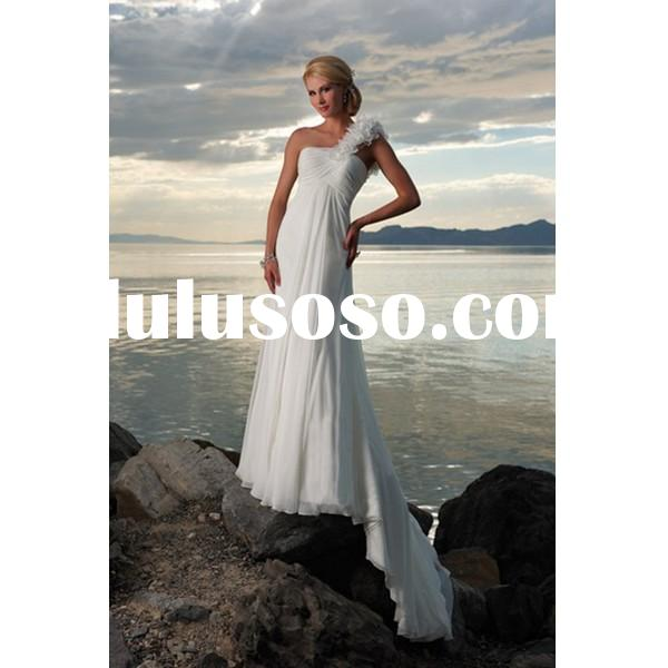 Outlet Empire One-shoulder White Chiffon Beach Wedding Dress