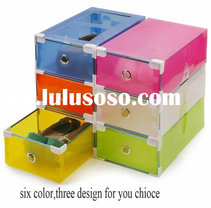 Transparent colorful Foldable Storage box /plastic clear shoes storage box drawer type
