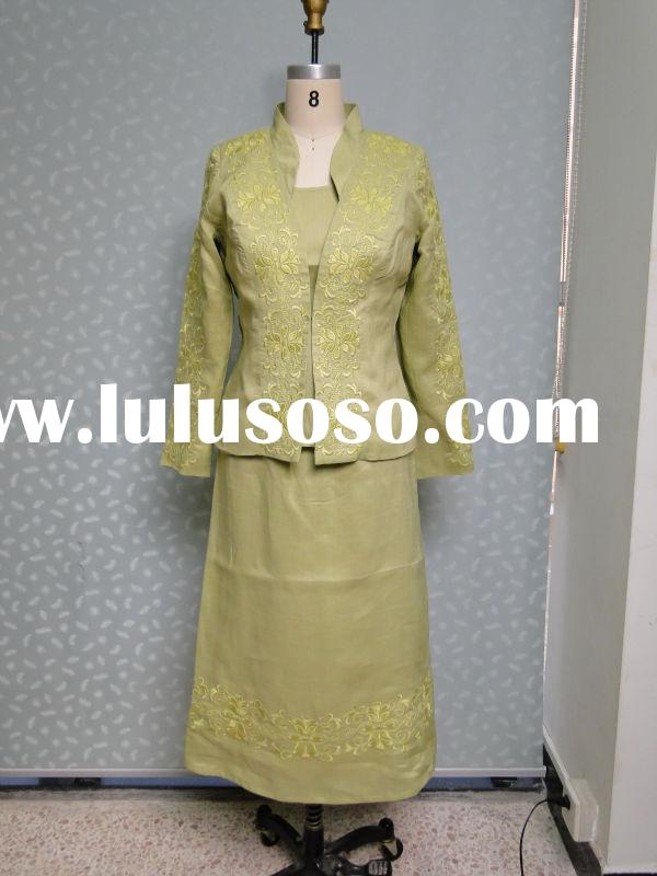 ladies formal skirt suit with embroidery 2015