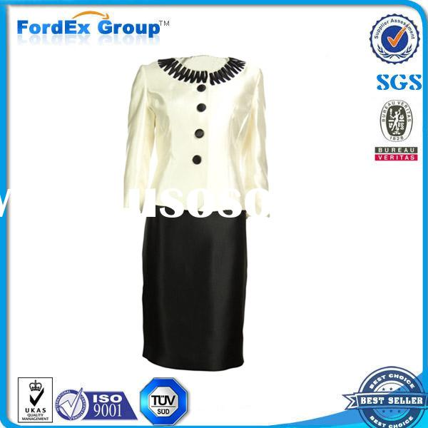 office round neck design for ladies formal skirt suit