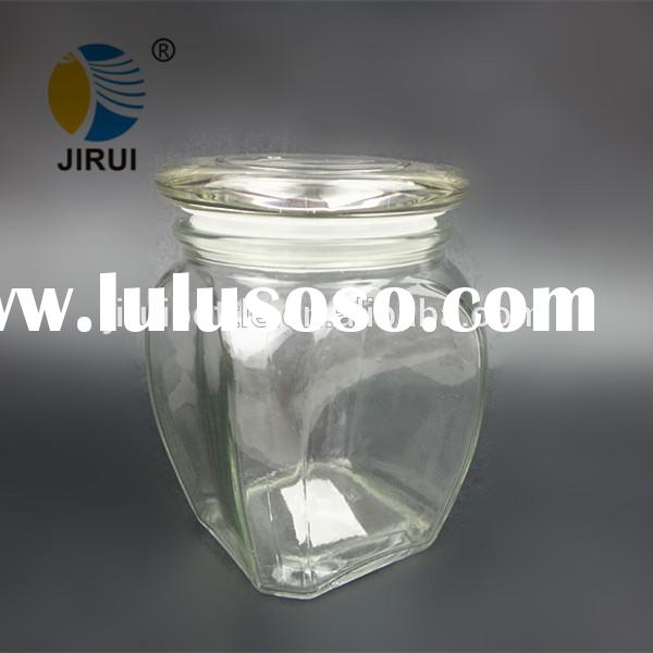 Clear Square Candy Jar with glass lid