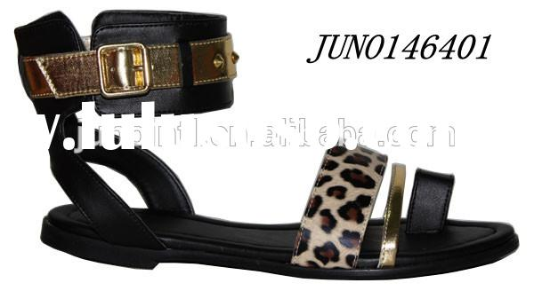 Fashion Lady flat sandals PU with leopard shoes