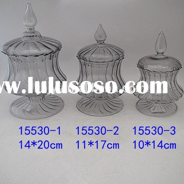 Jingyi gray hand blown glass candy jars with lids