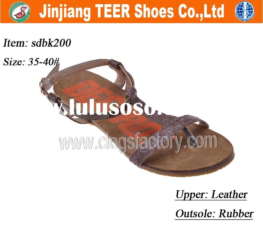 Latest Ladies Flat Leather Sandals Shoes