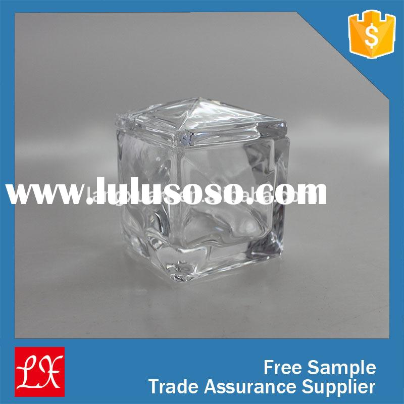 Leaf free Square mini glass candy jar with lid