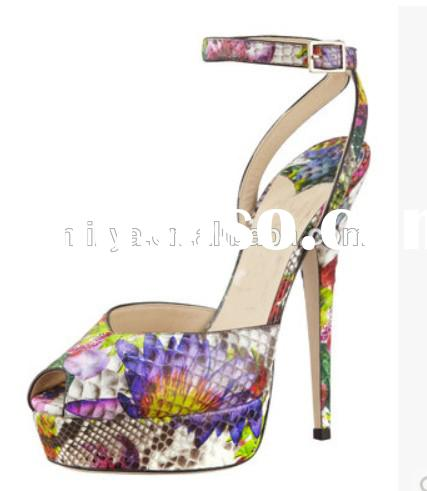 MIXED COLORS high heel women sandals snake skin peep toe ankle strap slingback sandal for women