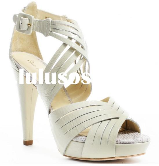 New Arrival Cut out Crisscross Strappy High Platform Heels Sandal Shoes Women Fashion Ivory Buckle S