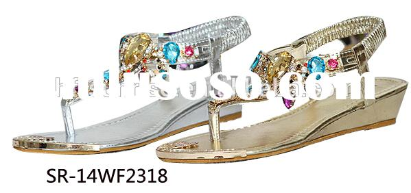 SR-14WF2318 diamond wedge sandals women fashion high heel wedge sandals latest summe lady wedge heel