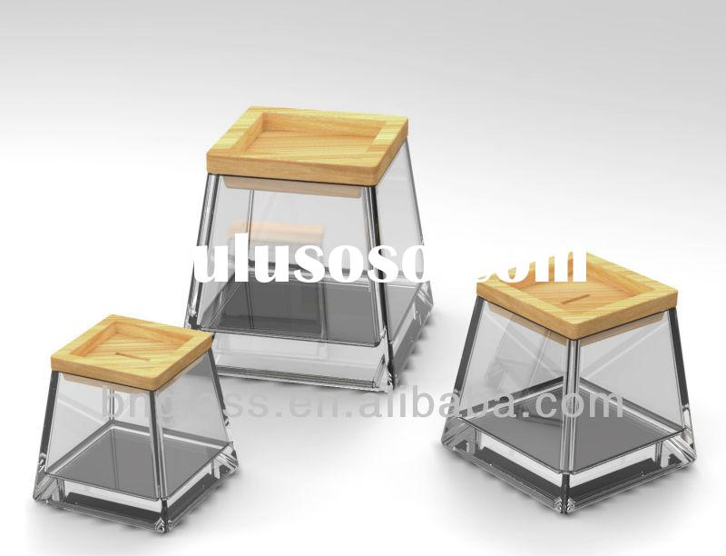 Square Clear Glass Candy jar with wooden lids