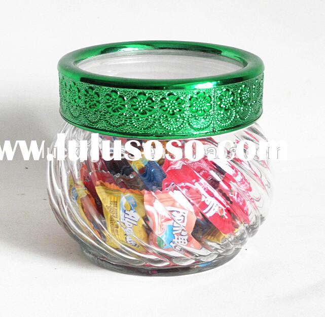 ball shape glass candy mason jar with window lid