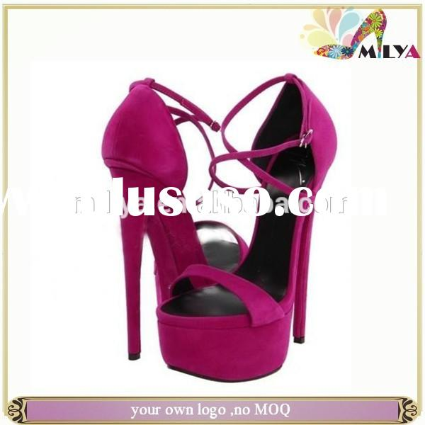 nude/purple super high wedding shoes strappy buckle stiletto high sandals platform heel fashion lady