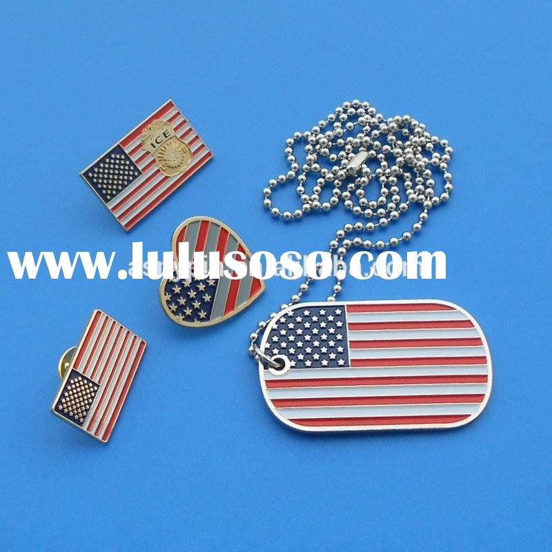 rectangle/heart shape country flag logo flag metal lapel pins/ badge/ dog tag/ pet id tag for USA na