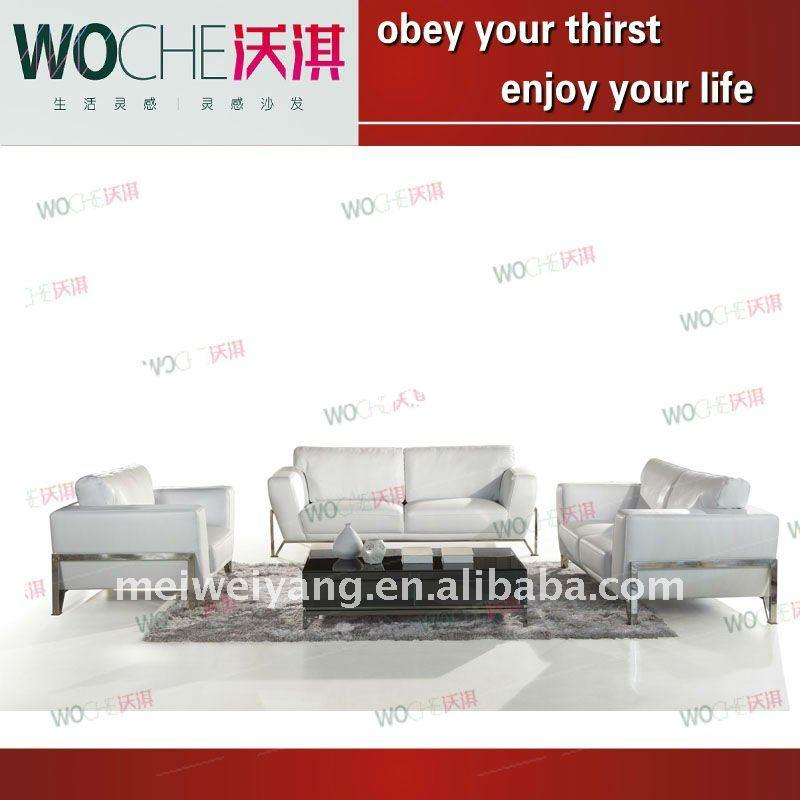 2013 American style leather sofa with stainless steel frame white color couch(WQ6857) modern office