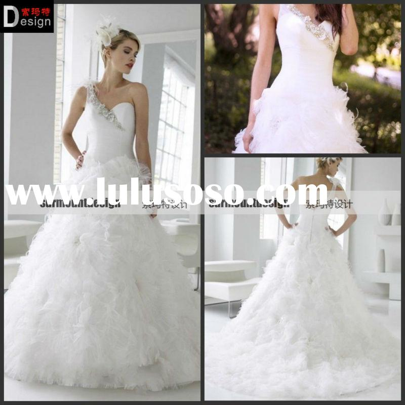 2013 One Shoulder with Feather A Line Beaded Openning-Back Tulle White Flowers-Ruffle Wedding Dress