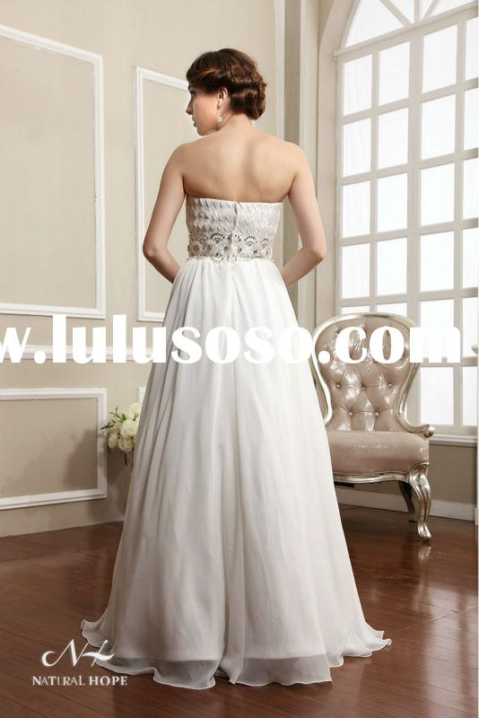 2014 Elegant Strapless Lace and Beaded Sash bella swan s wedding dress