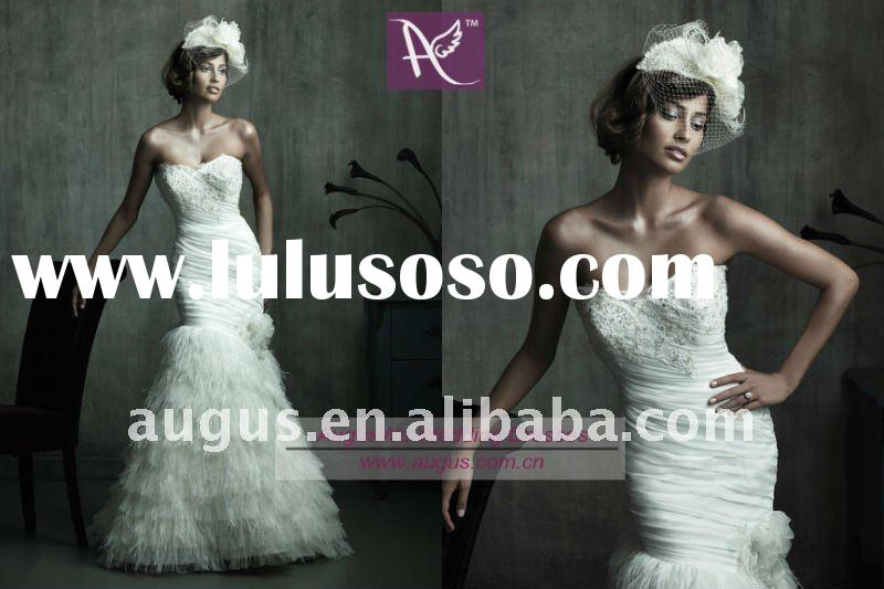 AWB0144 Stunning Feather Mermaid Wedding dress