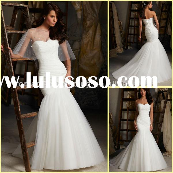 BU0024 Ruched dropped Waist Bodice With Dramatic Tulle And Ostrich Feather Skirt Mermaid Wedding Dre